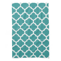 cute aqua quatrefoil towels