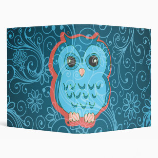 Cute Aqua Teal Owl, Retro Floral Background 3 Ring Binders