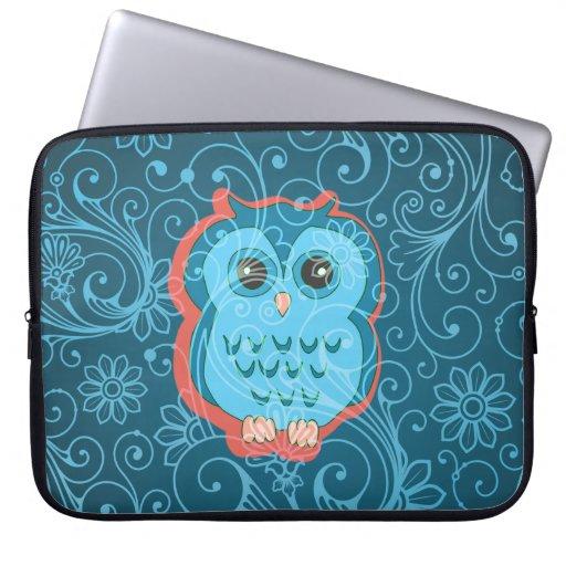 Cute Aqua Teal Owl, Retro Floral Background Computer Sleeves