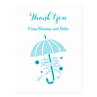 Cute Aqua Umbrella and Bow Baby Shower Thank You Postcard