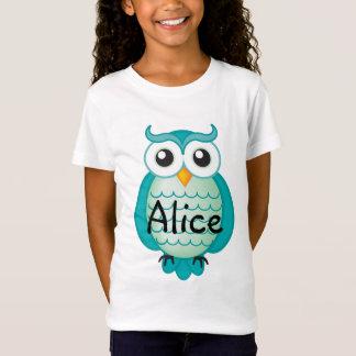 Cute Aqua Wise Owl   T-shirt