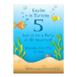 cute aquarium fishy birthday party personalized announcements