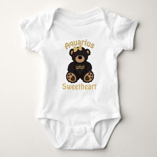 Cute Aquarius Bear Dark Brown Baby Bodysuit