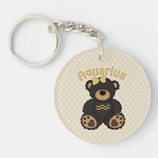 Cute Aquarius Bear Dark Brown Double-Sided Round Acrylic Keychain