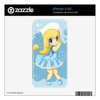 Cute Aquarius girl Decals For iPhone 4S