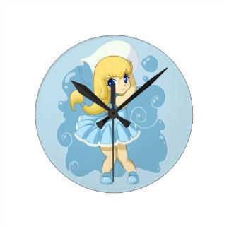 Cute Aquarius girl Round Clock