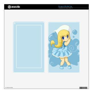 Cute Aquarius girl Skin For Kindle Fire