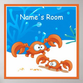 Cute Aquatic Crab Crabs Custom Kids Room Poster Posters