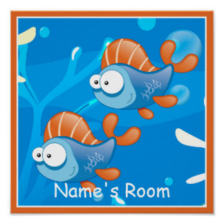 Cute Aquatic Fish Custom Kids Room Poster