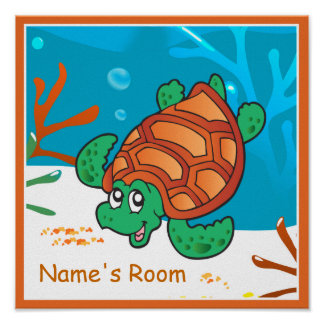Cute Aquatic Sea Turtle Custom Kids Room Poster