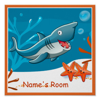 Cute Aquatic Shark Custom Kids Room Poster