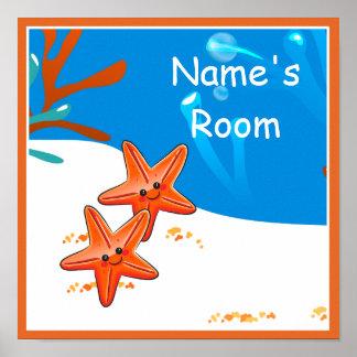 Cute Aquatic Starfish Custom Kids Room Poster