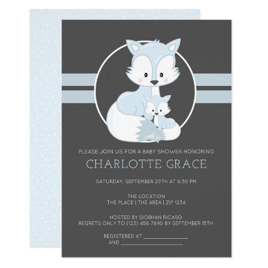 Cute Arctic Fox Personalized Baby Shower Invitation Zazzle