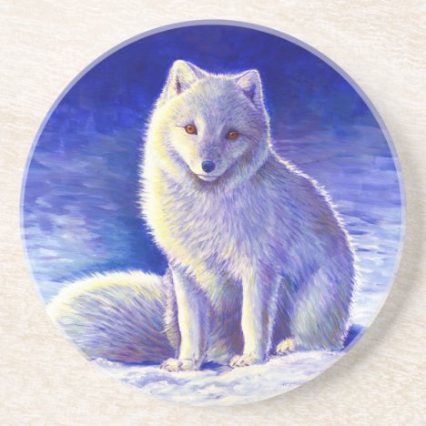 Cute Arctic Fox Round Stone Coaster