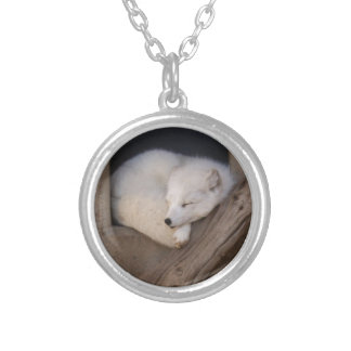 Cute Arctic Fox Sleeping Silver Plated Necklace