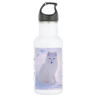 Cute Arctic Fox Winter Outdoor Scene Photo Design Stainless Steel Water Bottle