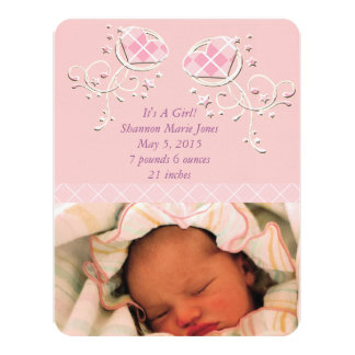 Cute Argyle Pink Baby Girl Announcement