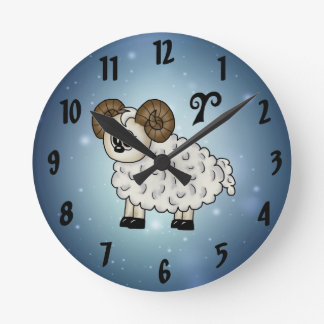 cute Aries Zodiac Round Clocks