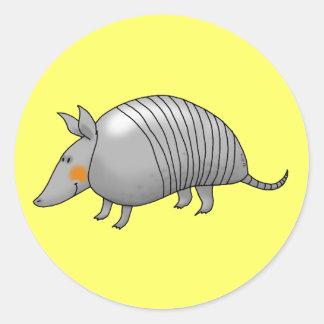 Cute armadillo classic round sticker