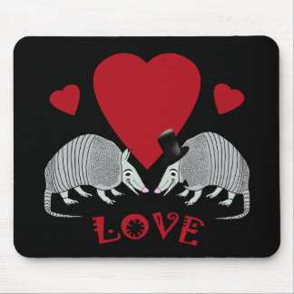 Cute Armadillo Couple in Love (black) Mouse Pad