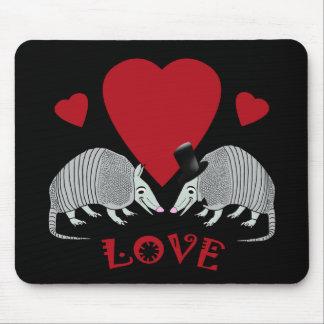 Cute Armadillo Couple in Love (black) Mousepad