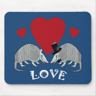 Cute Armadillo Couple in Love (blue) Mouse Pad