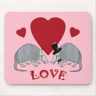 Cute Armadillo Couple in Love (pink) Mousepads