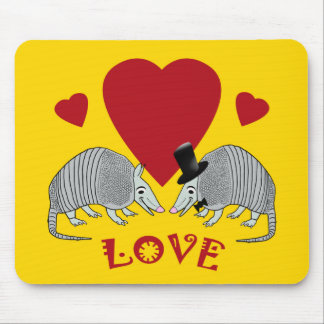 Cute Armadillo Couple in Love (yellow) Mouse Pads
