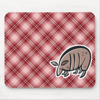Cute Armadillo; Red Plaid Mouse Pads