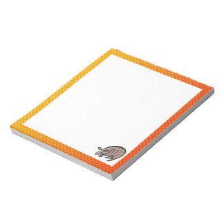 Cute Armadillo; Yellow Orange Notepad