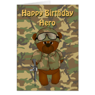 Cute Armed Forces Teddy Bear Birthday Card