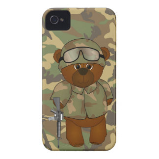 Cute Armed Forces Teddy Bear Military Mascot iPhone 4 Cover