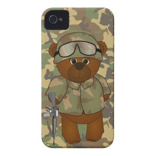 Cute Armed Forces Teddy Bear Military Mascot iPhone 4 Case