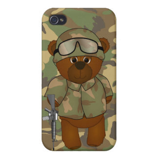 Cute Armed Forces Teddy Bear Military Mascot iPhone 4/4S Cases