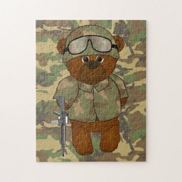 Cute Armed Forces Teddy Bear Military Mascot Jigsaw Puzzle
