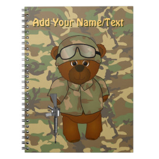 Cute Armed Forces Teddy Bear Military Mascot Notebook
