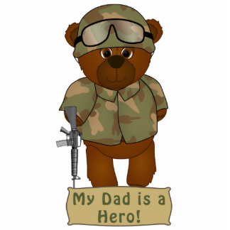 Cute Armed Forces Teddy Bear Military Mascot Photo Sculpture