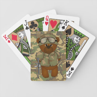 Cute Armed Forces Teddy Bear Military Mascot Bicycle Poker Deck