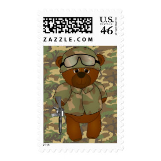 Cute Armed Forces Teddy Bear Military Mascot Postage Stamp