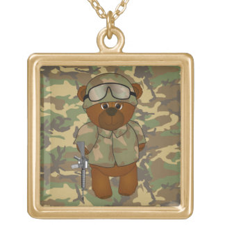 Cute Armed Forces Teddy Bear Military Mascot Square Pendant Necklace