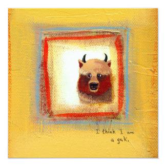 Cute art yak couple fun relationship painting card