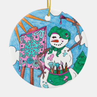 Cute Artist Snowman Holiday Christmas Double-Sided Ceramic Round Christmas Ornament