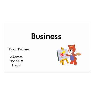 cute artist teddy bear graphic business card