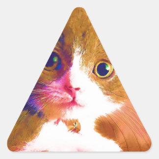Cute Artsy Cat Triangle Sticker