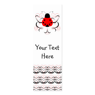 Cute Artsy Heart Ladybug Bookmark Business Card Template