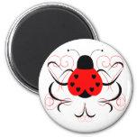 Cute Artsy Heart Ladybug Magnet