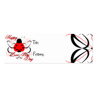 Cute Artsy Love Bug Heart Ladybug Gift Tag Business Card Template