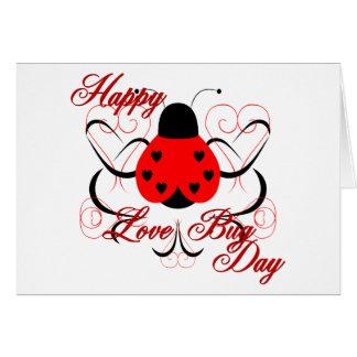 Cute Artsy Love Bug Heart Ladybug Greeting Card