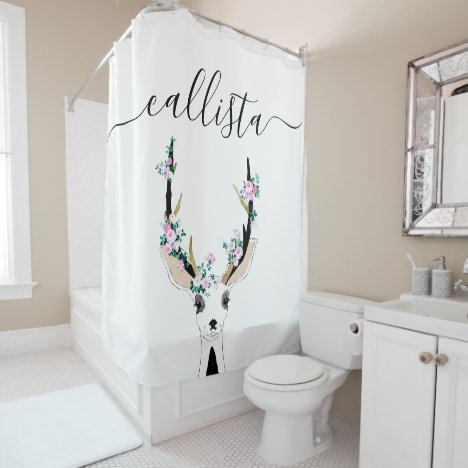 Cute Artsy Pink Floral Deer Animal Illustration Shower Curtain
