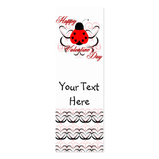 Cute Artsy Valentine Heart Ladybug Bookmark Business Card Templates